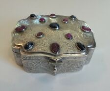 UNUSUAL ANTIQUE PERSIAN STERLING SILVER ENGRAVED INLAID & ENGRAVED BOX