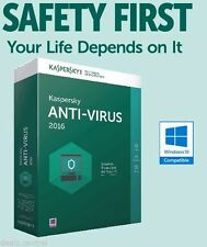 Kaspersky Antivirus 2016 1 PC/User 1Year License Key Code Retail Pack + CD New