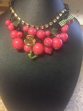 Betsey Johnson Cherries , Ladybug Statement Necklace(orig.$125 Approx)
