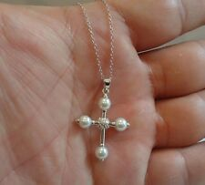 925 STERLING SILVER LADIES CROSS NECKLACE PENDANT W/ AAA CUBIC ZIRCONIA  /PEARL