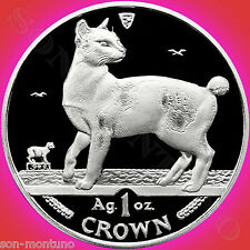 1994 Isle of Man - Japanese Bobtail Cat - 1 Oz Silver Proof Coin with Box & Coa