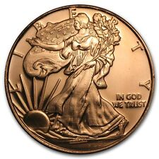 1 oz 999 Kupfermedaille Kupfer Copper Silber Eagle Design Liberty Lady