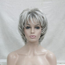 "Elegant light gray/grey mix and dark root wavy women' synthetic 14"" full wig"