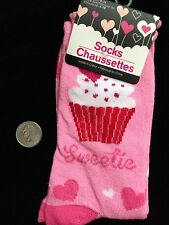 HEART CUPCAKE SWEETIE CREW SOCKS-Funky Novelty Rockabilly Lolita Cheer-HOT PINK