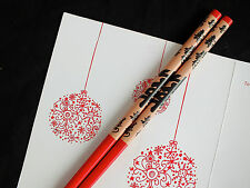 JAPANESE CHOPSTICKS RED BLACK HEALTH PARTY CHINESE NEW YEAR DINNER HAIR STICK