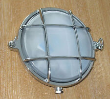 Bulkhead lamp, house, boat, cabin, caravan 155mm diam, guarded, Chrome 2028BC