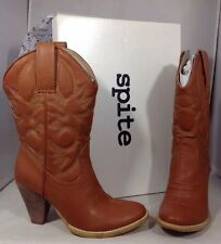 NEW SPITE Brown Leather Womens Cowboy Boots Size 7 Western Tan Brown Heels Shoes