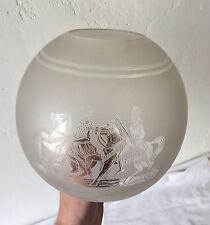 Grand Globe Lampe Pétrole Cristal Gravé à l'acide Ancien St Louis - Baccarat? TB