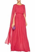 RACHEL ZOE HENRIETTA  PINK SILK CHIFFON DRESS LONG GOWN CAPE NEW 6 $795!!