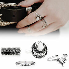 4 PCS New Silver Punk Vintage Ring Womens Retro Finger Rings Set Boho Style