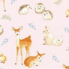 Robert Kaufman Fawns and Friends AWU 16671 10 Pink Animals Cotton Fabric BTY
