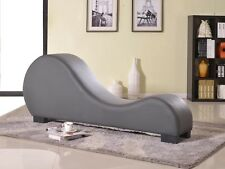 US Pride Furniture Faux Leather Stretch Chaise Relaxation and Yoga Chair, Grey