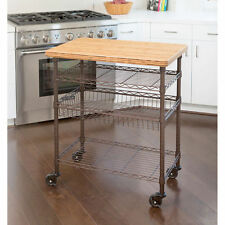 Seville Classics® Professional Chefs Kitchen Cart With Solid Bamboo Top