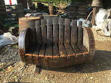 Rustic Solid Oak Refurbished Whisky Barrel Garden Bench