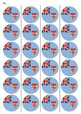 24X PRECUT FIJI FLAG BIRTHDAY EDIBLE WAFER PAPER, CUPCAKE, CAKE TOPPERS 1188