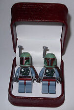 HAND MADE  STARWARS BOBA FETT  LEGO CUFFLINKS W/ BEAUTIFUL JEWELRY BOX- GIFT