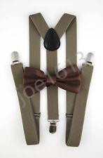Milk Chocolate Bow Tie Dark Tan Suspender Mens Adult Combo Set Wedding SBT13