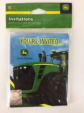 John Deere 8 Invitation Cards w/ Envelopes Tractor Theme Birthday Party Supplies