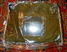 RALPH LAUREN Green Corduroy Quilted Euro Sham Turnwater? Equestrian? River Rock?