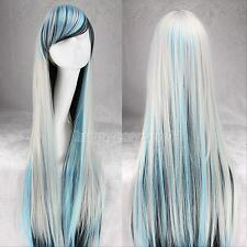 Fashion Fancy Cosplay Party Black Blue white Wig Womens Long Ombre Straight Hair