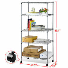 5 Tier Wire Rolling Shelf Storage Kitchen Garage Organizer Shelving Rack W/Wheel