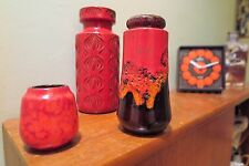 3x Red Orange FAT LAVA West Germany Vases by Scheurich in various glazes