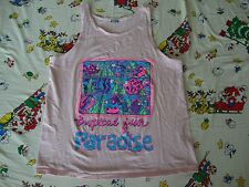 Vintage TROPICAL FISH PARADISE tourist vacation pink beach Tank Top T shirt L