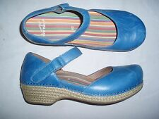 """WOMEN *XCOND* """"DANSKO"""" SKY BLUE MARY JANE ANKLE STRAP LEATHER SHOES (40)"""