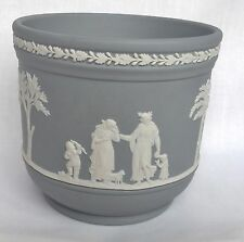 Wedgwood Grey Planter - Grey Jasperware Plant Pot Cover