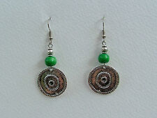 GORGEOUS DARK SILVER PLATED COINS GREEN WOOD EARRINGS TRIBAL Hook earwires