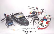 Playmobil joblot 2 helicopters 2 boats trailer Figure Incomplete Police Fire