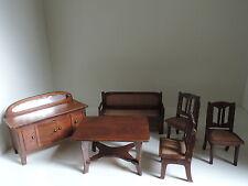 Puppenstuben-Möbel,Anrichte,Sofa,Tisch,3 Stühle,Holz, Jugendstil