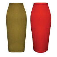 Womens Ladies Midi Skirt