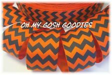 1.5 ORANGE BLACK CHEVRON ZIG ZAG STRIPE HALLOWEEN GROSGRAIN RIBBON 4 HAIRBOW BOW