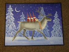 Scandinavian Swedish Gnome Tomtar on Reindeer Door Mat Rug #EVA40-R24