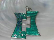 Estate Large Teal Green & Aqua Enamel Shifted Rectangle with Clear Rhinestone