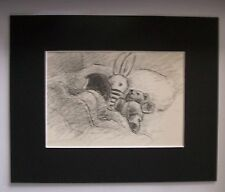 Print Clare Newberry Little Girl In Bed W Stuff Bear Bunny Bookplate 1961 Matted