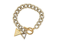 NWT Guess Silver & Gold Metals Rhinestones Triangle Charms Toggle Bracelet