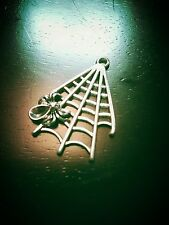 Spider Charms Pendants Antiqued Silver Spiderweb Charms Pendants Halloween 10pcs