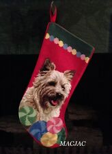 Cairn Terrier Dog Needlepoint Christmas Stocking NWT
