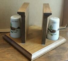 Vintage Road Runner Arizona Salt & Pepper Shakers & Wood Napkin Holder JAPAN