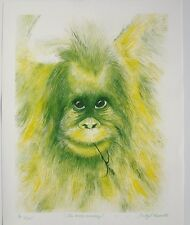 """TRUDY L. REYNOLDS """"The Moss Monkey"""" Watercolor SIGNED Lithograph Print 20X25"""