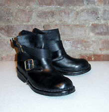 JEFFREY CAMPBELL Black Leather Wrap Strap Flat Rogues/Brit Bootie - Size 7 $325