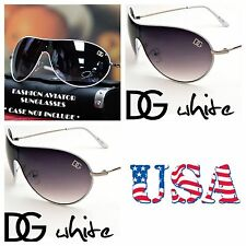 Men Women DG Eyewear Bike Shield Neo Aviator Sports Sunglasses UV Shade WHITE
