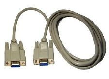 NEW 9 PIN SERIAL / EGA FEMALE TO FEMALE 2M TWO METRE CABLE, FULLY MOULDED PLUGS
