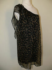 T.F.N.C London made in France dress black /brown  animal print color size L