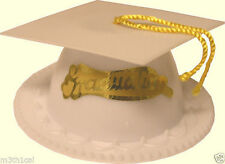 ONE White Graduation Cap W/ Tassel Cake Topper Decor Grad Party Supply