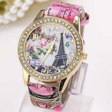 Vintage Paris Eiffel Tower Women Fashion Watch Crystal Leather Quartz Wristwatch