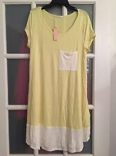 NWT!! Pink Blush Maternity Pale Yellow Colorblock T-shirt Dress With Pockets L