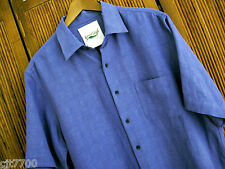 NWT Mens Silk Linen Camp Shirt Casual Cool Blue New Solid Hawaiian Beach Small S